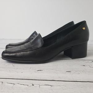 Etienne Aigner Black Leather Painter Heels
